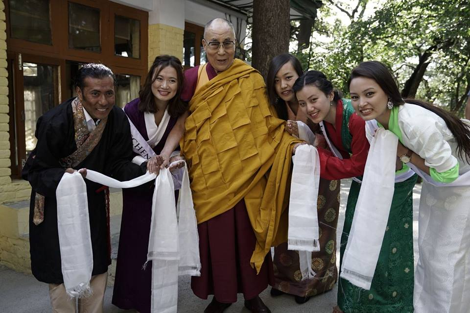 Contestants and the Director with His Holiness the Dalai Lama. Photo: Misstibet/Facebook
