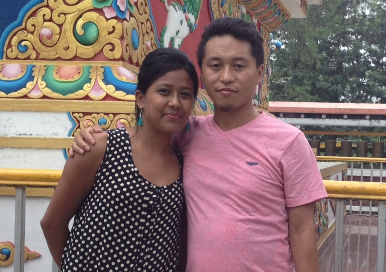 Author Tenzin Phuntsok with his wife.