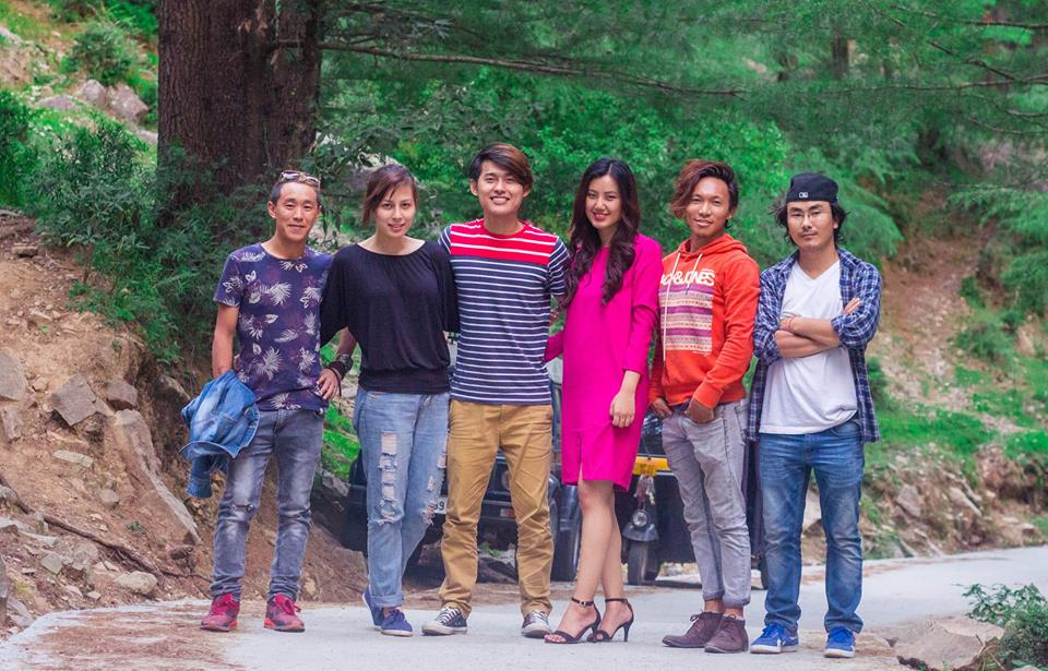 Director Taklha, far right with cap, with the cast and crew. Photo: Taklha/Facebook